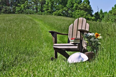sunhat: Adirondack chair with flowers and sunhat in a field of tall grass.