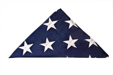Folded flag of the United States isolated with clipping
