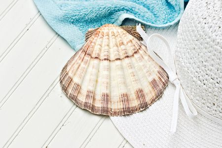 Beach hat, sea shell and towel on white bead board. photo