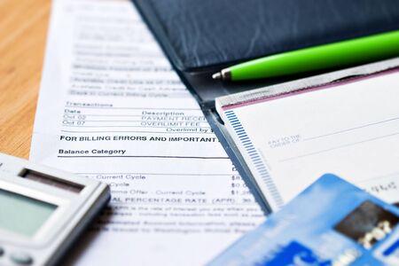 checkbook: Abrir el talonario de cheques con las tarjetas de cr�dito y la declaraci�n Foto de archivo