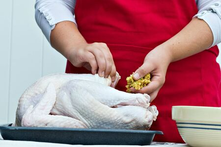 Womans hands stuffing a large fresh turkey for a holiday dinner.
