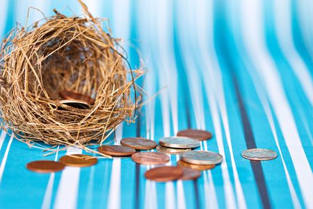 Nest egg spilling out meager savings of coins. Shallow DOF with focus on coins falling from nest