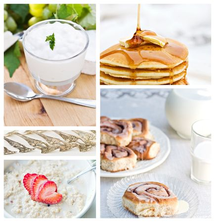 Healthy breakfast collage made from five photographs. photo