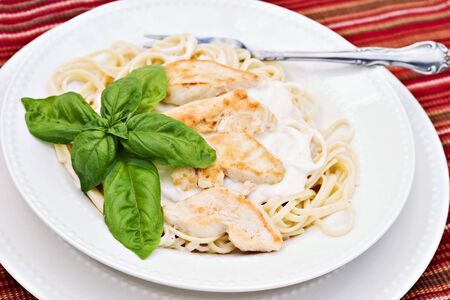 Chicken alfredo with basil