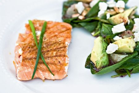 Grilled salmon with avocodo salad