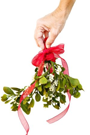 with mistletoe: Womans hand holding fresh green mistletoe with a red bow and ribbon on a white background