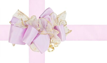 Lavendar cross ribbon and bow isolated on white background with clipping path photo