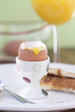 Soft boiled egg. Shallow DOF.  photo