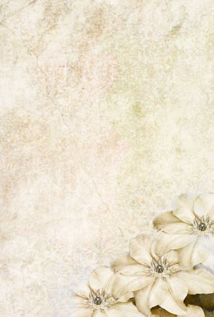 Photo based illustrated background with Clematis flowers in the lower corner.