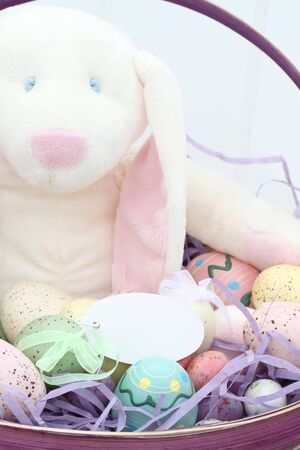 Easter basket with beautifully decorated eggs and adorable bunny. Blank tag for copyspace.  photo