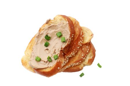 Pate and toast isolated on white. Shallow DOF.   photo