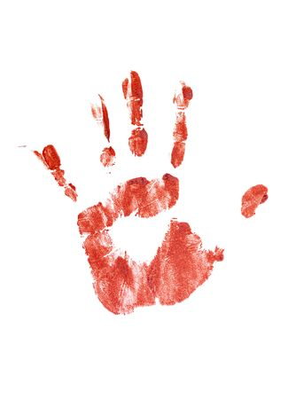 Bloody handprint isolated on a white background. photo
