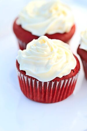 Red Velvet Cupcake with buttercream icing. Shallow DOF.