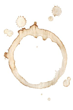 Coffee cup rings and splatters isolated on a white background. photo