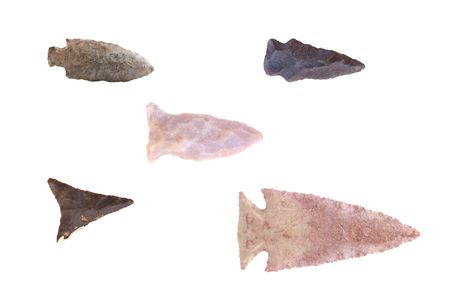 arrowheads: Group of Native American arrowheads found in Eastern Kentucky isolated on a white background. Stock Photo