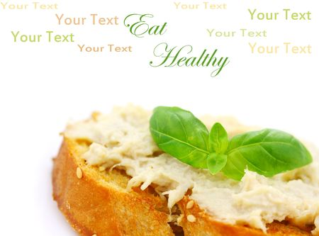 Vegan sandwich spread made with a meat substitute for shredded chicken or turkey and tofu mayonnaise. Room for text. Stock fotó
