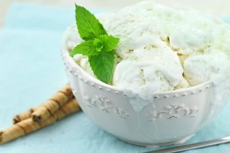 splurge: Vanilla ice cream with a sprig of fresh mint and chocolate pirouettes.
