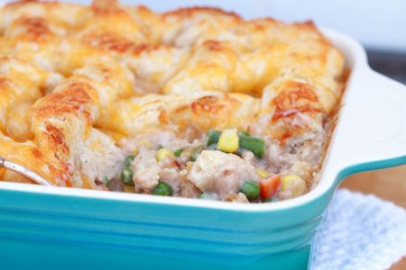 Chicken pot pie with ingredients showing. Shallow DOF. photo