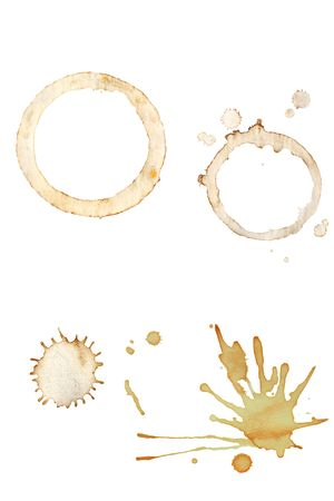 textured paper: Coffee cup rings and splatters isolated on a white background.