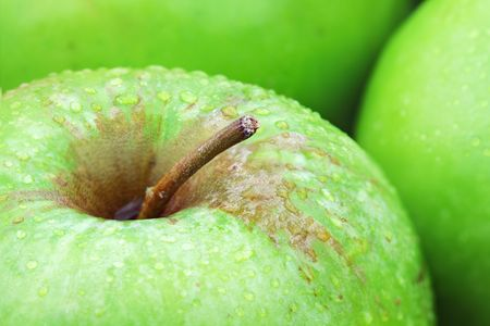 Macro of freshly picked green apples with water droplets.  Stock Photo - 7387282