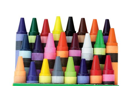 Three rows of wax crayons in a box