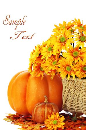 arrangement: Autumn or Thanksgiving Bouquet with pumpkins and leaves against a white background. Shallow DOF.  Stock Photo
