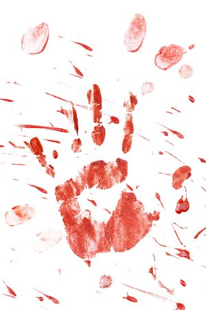 Blood splatter and fingerprints isolated on a white background. photo