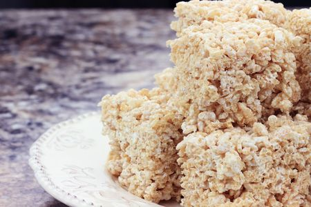 marshmellow: Marshmallow and rice cereal dessert bars.  Stock Photo