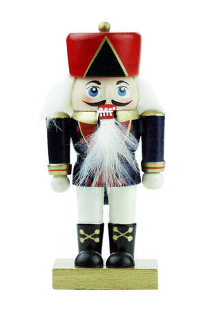 Wooden Nutcracker isolated on a white background. photo