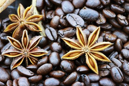 Background of gourmet coffee ingredients with star anise and whole coffee beans. Selective focus on lower portion of image with shallow depth of field. Stock Photo - 8093742