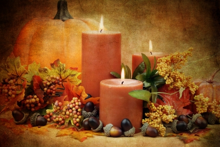 Photo based illustration of an autumn still life of burning candles surrounded by colorful leaves, pumpkins and acorns. illustration