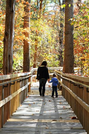 Young mother walking with little girl in a beautiful autumn park. Stock Photo - 8159514