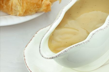 Close up of turkey gravy in a gravy boat. Stock Photo - 8219086
