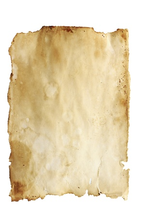 Stained old paper with rough edges isolated on a white background. Stock Photo - 8349507