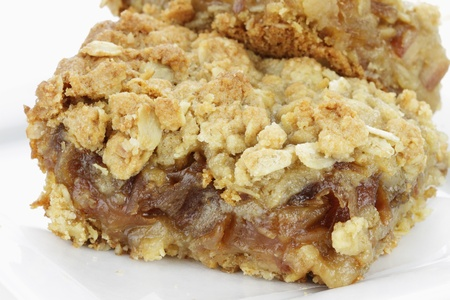 pitted: Delicious date bar made with oats and pitted dates. Stock Photo