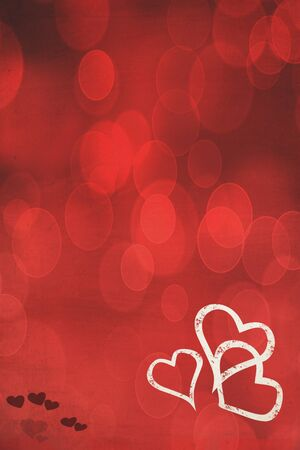Photo based illustration of a red background with hearts. Copy space available.