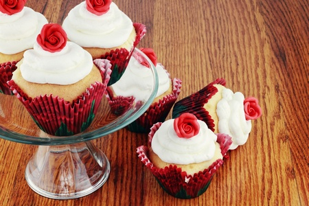 Valentine's Day cupcakes on a cake stand. Stock Photo - 8660083