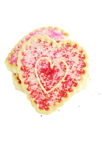 Heart shaped Valentines Day cookies isolated on a white background. photo