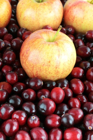Background of delicious fresh apples and cranberries.