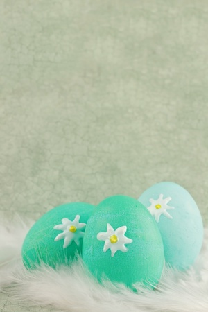 Easter eggs in a nest of feathers against a green vintage background with room for copyspace. Extreme shallow DOF.