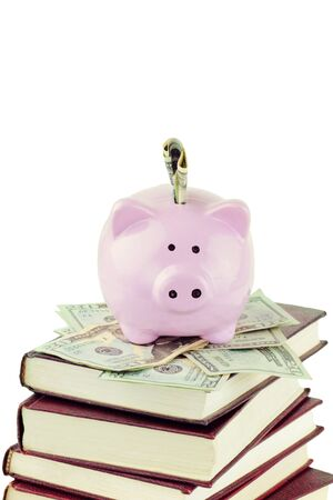 Ceramic piggy bank sitting on twenty dollar bills and a stack of books against a white background with copy space.  photo