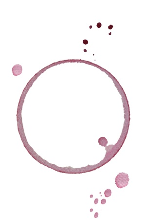 Wijnglas ring vlek met textuur geïsoleerd op een witte achtergrond. Stockfoto