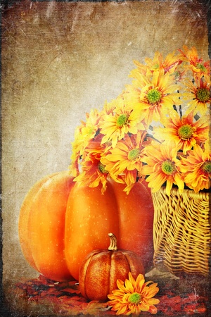 Autumn or Thanksgiving Bouquet with pumpkins and leaves against a white background. Copyspace available. photo