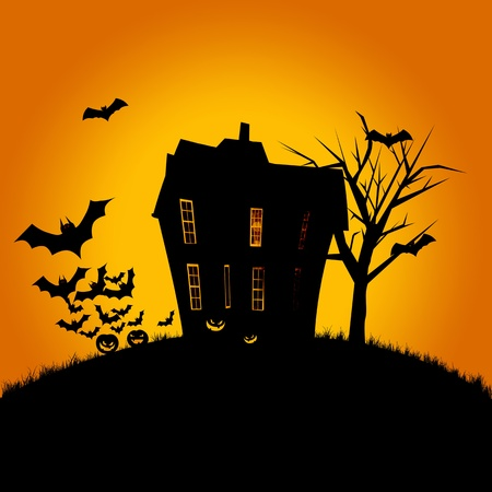 Halloween poster of a haunted house, pumpkins and flying bats. Room for text.  photo