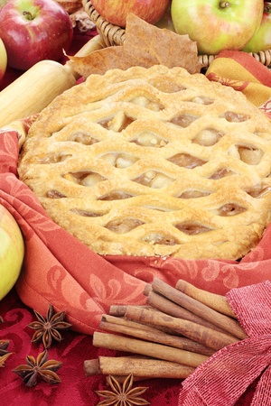 baked goods: Delicious fresh baked apple pie with ingredients. Perfect for the holidays.