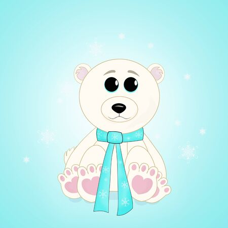 Original illustration of a cute little polar bear with a blue scarf tied around its neck. illustration