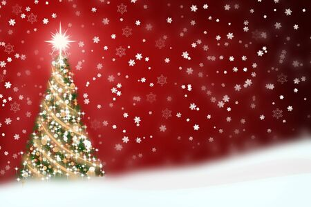 Christmas illustration of a snowy background with lite Christmas tree.