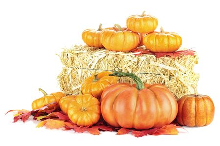 hay bale: Macro of pumpkins around a bale of hay isolated on a white background.