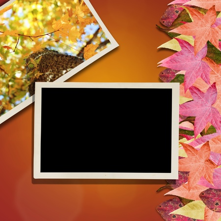 Vintage photos over a background with colorful autumn leaves. Room for copy space.