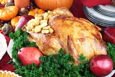 Thanksgiving or Christmas turkey dinner with fresh red pears and parsley. 